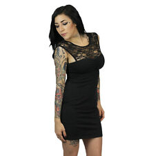 Medium Sullen Lace LBD Dress Black tattoo pinup rockabilly girl back little sa M