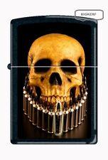 HUMAN SKULL RIFLE BULLET CHAIN NECKLACE  ZIPPO LIGHTER  BLACK MATTE - NEW IN BOX