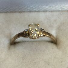 Vintage Solid 9ct Gold Hallmarked Cubic Zirconia Solitaire Ring Size L