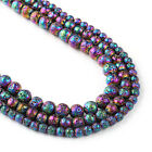 """Electroplated Lava Beads 6 8 10mm Lava Rock Jewelry Beads 15"""" Full Strand 103038"""