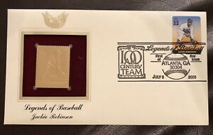 2000 Jackie Robinson Gold Golden Replica Cover Legends of Baseball FDC STAMP