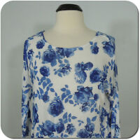 DIVIDED BY H&M Women's Floral Knit Top, Blue/White, 3/4 Sleeves size S