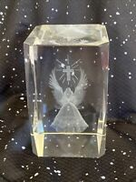 3D Laser Crystal Glass Etched Engrave Paperweight Stand Leo Zodiac Portrait M