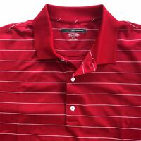 Greg Norman Men's Play Dry Golf Polo Shirt X-Large Red White Stripe Short Sleeve