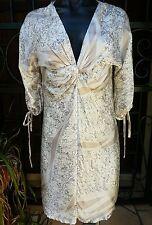 NWT Katherine Silk, Lined, Beige Knee Length 3/4 Sleeve Dress, Size 10
