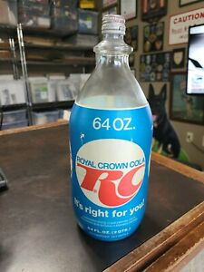 Vintage Glass 2 Qt. Foam Label RC Cola Soda Btl