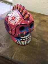 Day of the dead, Hand painted Ceramic skull, Catrina, Pottery, Small,Mexico,#109