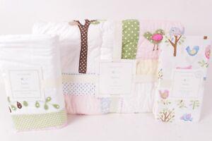 Pottery Barn Kids Hayley Owl toddler quilt, crib skirt & sheet baby nursery bird