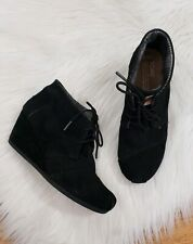 Toms Black Suede Lace Up Wedge Desert Bootie Size 7.5