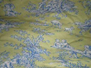 P Kaufmann Central Park Bed Skirt Children Cherubs Tots Toddler Toile Lime Blue