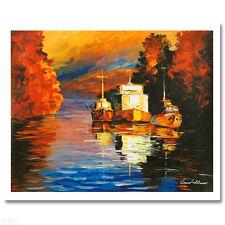 "Leonid Afremov ""Three Boats"" Embellished Canvas 6/60 was $270"