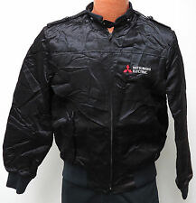 vtg MITSUBISHI ELECTRIC Black Satin Jacket Unisex S/M car team racer 80s/90s