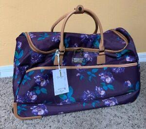 """Jessica Simpson West Coast Plum 22"""" Rolling Duffle Weekender Bag"""