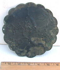 "CHINESE ANCIENT QING LARGE 6"" CHERRY BLOSSOMS DECORATED CAST BRONZE HAND MIRROR"