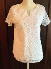 Rafaella White Crochet Shirt Blouse Lined NWT Size M