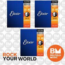 3 x Elixir 12052 Electric Guitar Strings Nanoweb Light 10-46 E-NW-L