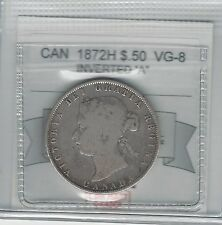 **1872H Inverted A/V**,Coin Mart Graded Canadian Silver 50 Cent, **VG-8**