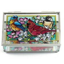 "Cardinal Jewelry Trinket Box Hand Painted Glass By Amia Studios 5"" x 3.25"""