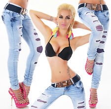 Hipster Skinny Jeans Low Cut Blue Lace Jeans womens Trousers + Belt 6-14 uk