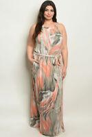 Womens Plus Size Sleeveless Peach Maxi Dress 3XL Pockets
