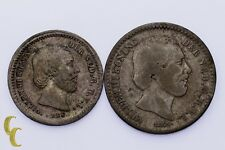 Lot of 2 Netherlands Coins 1850 5 Cent XF Condition, 1876 10 Cent VF+ Condition