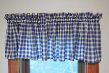 "Plaid Valance Navy Blue Cream Checked Window Curtains High Quality 86"" x 17"""