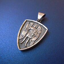 Saint ST. MICHAEL ARCHANGEL CROSS SHIELD PRAYER MEDAL SILVER PENDANT NECKLACE