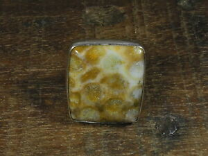 Natural Fossil Coral 925 Solid Sterling Silver Ring Size US 7.0 n051