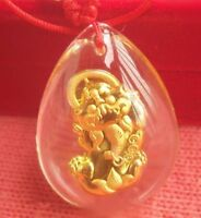 New 24K Yellow Gold Man-made Crystal Fashion Lucky Craved Pixiu 貔貅 Pendant