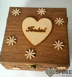 Personalised Wooden Keepsake Memory Box Flowers Daisy Name Box Engraved Gifts