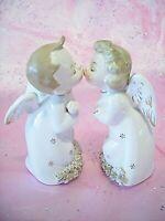 SUPER RARE VTG Christmas Kissing Angel Boy Girl Sphagetti Gold Trim Figurine Set