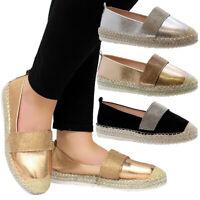 Ladies Women Summer Beach Flat Platform Wedge Espadrilles Diamante Sandals Shoes