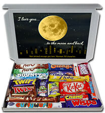 Personalised I LOVE YOU TO THE MOON & BACK Valentines Chocolate Box Husband Wife