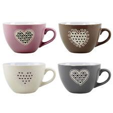 Set of 4 Embossed Heart Design Tea Coffee Mugs Hot Drinks Mug Wide Coupe Cups