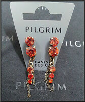 NEW PILGRIM DENMARK GOLD PLATED EARRINGS RED CRYSTALS DROP DANGLE CHAIN HANDMADE