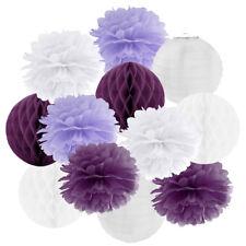 Hängedekoration 12 teilig Mix flieder / lila / weiß Hochzeit Vintage Pompom