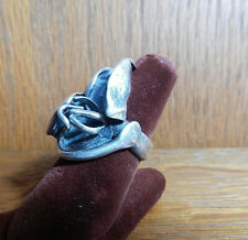 Vintage Floral Brutalist Modern Artist Made Large Sterling Silver Ring Sz 7.75