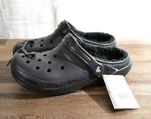 Crocs Classic Lined Clog Unisex Women's 7 Men's 5 Black Roomy Fit Shoe 203591