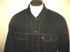 Levis Mens Button Up Denim Trucker Jean jacket Black Gold Stitch Size 2XL NR NWT