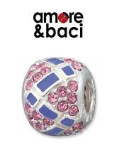 AMORE & BACI 925 silver & Swarovski crystal PURPLE PAVE charm bead RRP £46