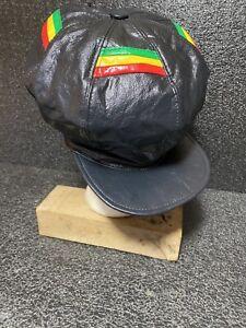 Handcrafted Leather Rasta Crown Hat Multi Trim Dark Gray