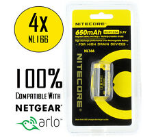 4x Nitecore NL166 RCR123A Protected 650mAh Rechargeable Battery for Arlo Camera