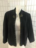Women's Alfred Dunner 20W Cotton Blend Black Beaded Zip Up Denim Jacket