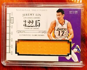 *JEREMY LIN* *ONLY LAKERS GOLD ON EBAY* *JUMBO PATCH* JERSEY National Treasures