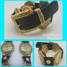 VINTAGE CAPTIVA COLLECTIBLES Women's Black Gold PU Leather Concho Belt M 32 /34