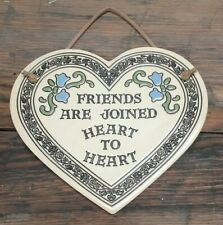 Trinity Pottery Friends Are Joined Heart to Heart Ceramic Hanging Wall Plaque