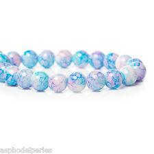 20 perles en verre bleu clair moucheté et reflets roses 8 mm
