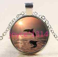 Vintage Dolphin Cabochon Tibetan silver Glass Chain Pendant Necklace #2565
