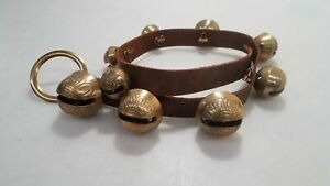 Vintage Brass Sleigh Bells of Unknown Origin on Leather Strap AA