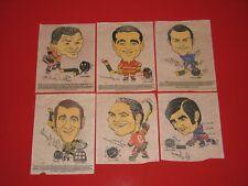 1970-71 Kellogg's Iron On Transfers – Complete Set of 6 – NHL Hockey Players
